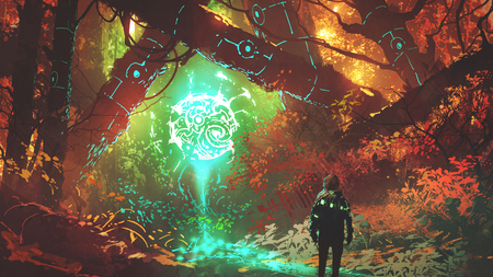 the futuristic light of enchanted forest Imagens