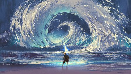 man with magic spear makes a swirling sea in the sky, digital art style, illustration painting Фото со стока