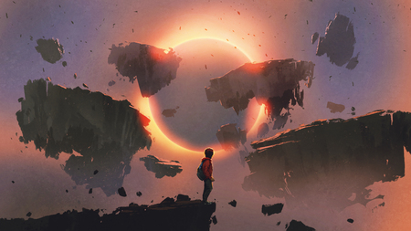 boy standing on the edge of the cliff looking at eclipse and rocks floating in the sky, digital art style, illustration painting