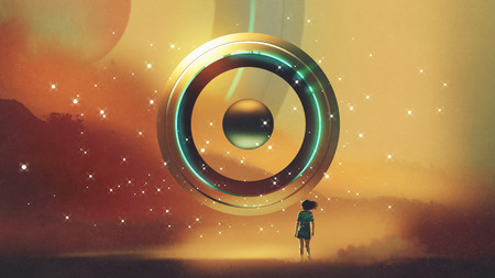 woman walking to the futuristic circle floating in the air, digital art style, illustration painting