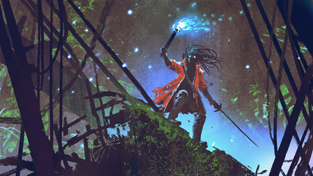 Pirate searching with a blue light torch in dark forest, digital art style, illustration painting