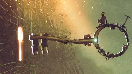 Junge, der auf dem großen Schlüssel sich bewegt in Richtung zum Schlüsselloch mit dem Licht nach innen glüht, digitale Kunstart, Illustrationsmalerei sitzt
