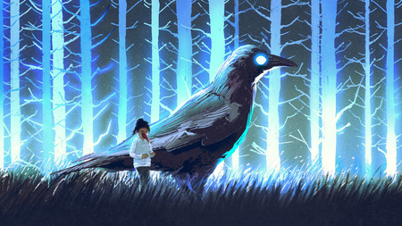 little girl with her big crow standing in blue forset with glowing trees, digital art style, illustration painting