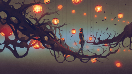man walking on a tree branch with many red lanterns on background, digital art style, illustration painting