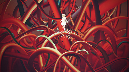 Girl in white floating among many red cables, digital art style, illustration painting