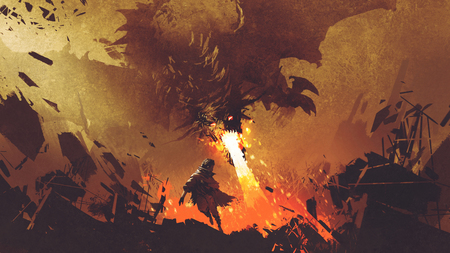 Fantasy scene showing the young boy running away from the fire dragon, digital art style, illustration painting