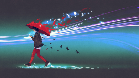 Woman with a red umbrella walking on dark background with scattering particles, digital art style, illustration painting 写真素材