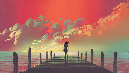 Beautiful scenery of the woman standing alone on a wooden pier looking at colorful clouds in the sky, digital art style, illustration painting 스톡 콘텐츠 - 98297524