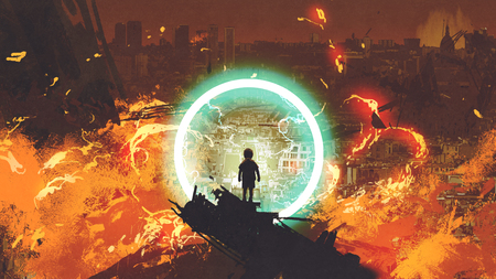 Boy standing in front of a glowing blue ring and looking at the burning city, digital art style, illustration painting