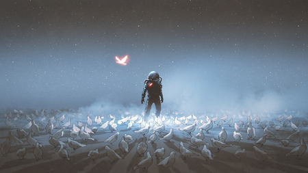astronaut standing among flock of bird 写真素材