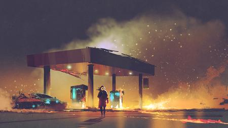 Futurystyczny mężczyzna palący stację benzynową