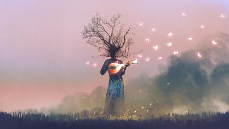 Créature jouant de l'instrument à cordes magique banjo Banque d'images