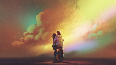 Couple in love riding on bicycle