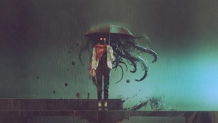 Femme mystère avec le parapluie noir
