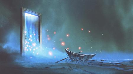 Fantasielandschaft des verlassenen Bootes auf dem Ufer nahe der Geheimnistür, digitale Kunstart, Illustrationsmalerei