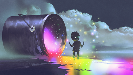 illustration fantastique montrant un grand seau allongé sur la surface et une créature mignonne debout sur une flaque de peinture colorée, style d'art numérique Banque d'images