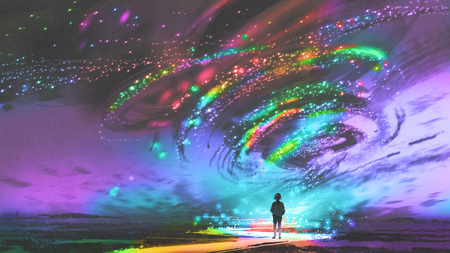 little girl standing in front of fantasy cosmic storm, the black tornado with colorful stars, digital art style, illustration painting