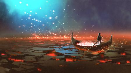Fantasiewereldlandschap dat een jongen toont die een boot roeit in het land van vulkanische, digitale kunststijl, illustratie het schilderen Stockfoto - 99338432