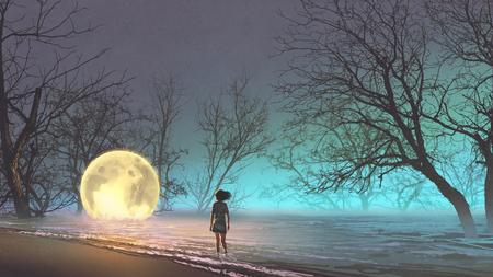 Nachtlandschap van jonge vrouw die de gevallen maan op het meer bekijken, digitale kunststijl, illustratie het schilderen
