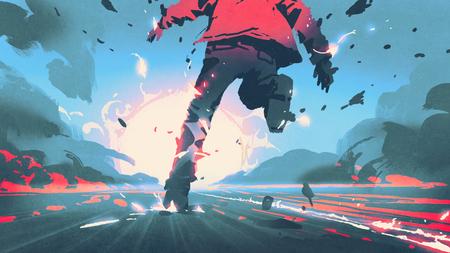 モーションエフェクト、デジタルアートアティレ、イラストレーション絵画で走る男性のバックビュー