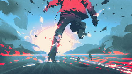 back view of man running with motion effect, digital art atyle, illustration painting