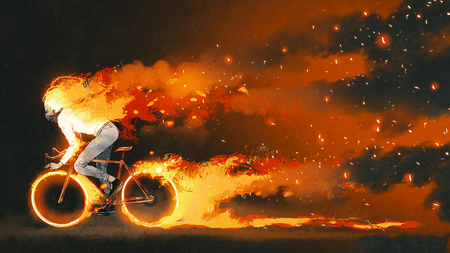 man riding a mountain bike with burning fire on dark background, digital art style, illustration painting Imagens