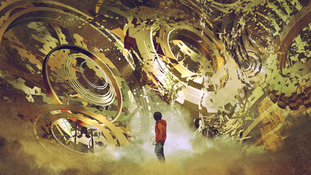 boy standing and looking at broken golden gear wheels, digital art style, illustration painting Stock Photo