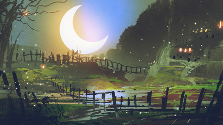 beautiful landscape of garden at night with big crescent moon, digital art style, illustration painting Stock fotó