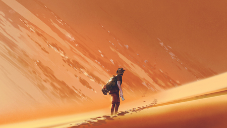 male hiker walking on sand desert, digital art style, illustration painting
