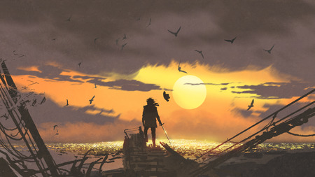 the pirate with a sword standing on ruins of boat and looking at golden treasures at sunset, digital art style, illustration painting Stock Photo