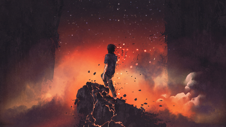 man shatterd into pieces standing a lava rock in surreal place, digital art style, illustration painting Stock Photo