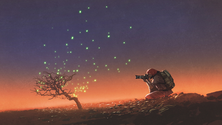 travel man taking a photo at the tree with glowing leaves floating in the sky, digital art style, illustration painting Stok Fotoğraf