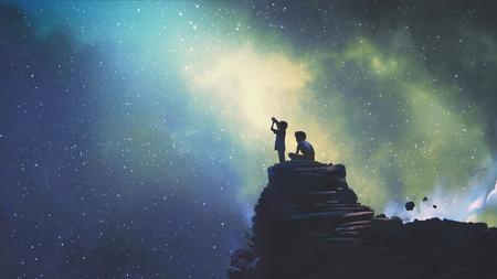 Nachtszene von zwei Brüdern im Freien, kleiner Junge, der durch ein Teleskop auf Sterne am Himmel schaut, digitaler Kunststil, Illustrationsmalerei Standard-Bild