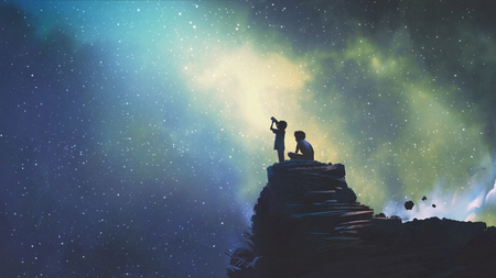 night scene of two brothers outdoors, llittle boy looking through a telescope at stars in the sky, digital art style, illustration painting Foto de archivo