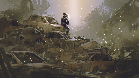 post-apocalyptic scene showing the woman with a mask sitting on pile of wrecked cars, digital art style, illustration painting Stock Photo