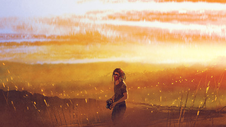 young traveler with a camera standing against sunset over mountains, digital art style, illustration painting Stock Photo