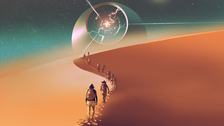 people walking through a desert to the mysterious building, digital art style, illustration painting 写真素材 - 104671082