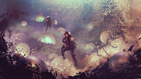 astronauts found mysterious glowing balls, digital art style, illustration painting Banco de Imagens