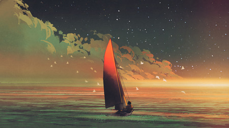 sailboat in the sea with the evening sunlight, digital art style, illustration painting
