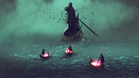 dark men with glowing souls on a boat meet the grim reaper, digital art style, illustration painting Stok Fotoğraf