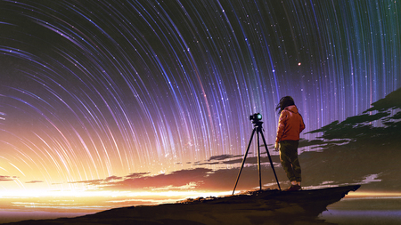 young photographer taking picture of sunrise sky with star trails, digital art style, illustration painting Stock Illustration - 104654160