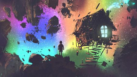 night scenery of the boy and a house in a strange place, digital art style, illustration painting