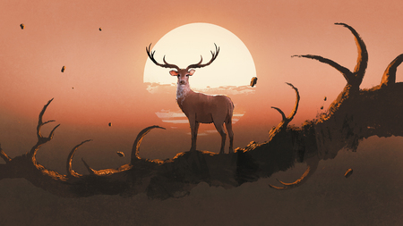 the deer standing on a giant branch that resembles an animals horns against sunset sky, digital art style, illustration painting
