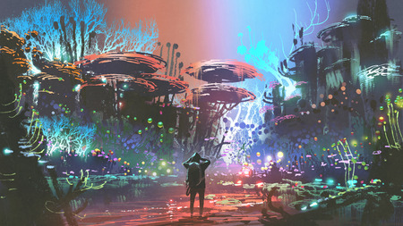 fantasy scenery of the man looking at colorful coral forest, digital art style, illustration painting Reklamní fotografie - 104978791