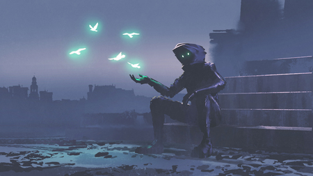 mysterious man with glowing birds over his hand digital art style, illustration painting