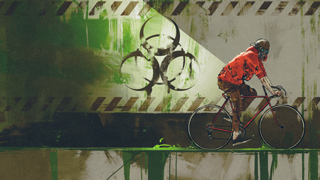 zombie with gas mask riding a bicycle in biohazard zone, digital art style, illustration painting