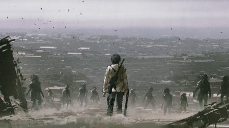 Mann mit Waffen gegenüber einer Menge von Zombies gegen Welt nach der Apokalypse, digitaler Kunststil, Illustrationsmalerei Standard-Bild
