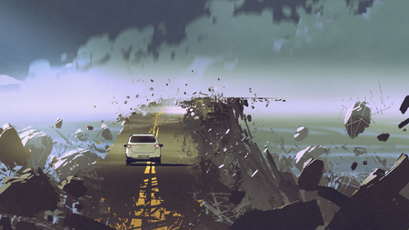 car on the broken asphalt road in the place without gravity, digital art style, illustration painting Stok Fotoğraf
