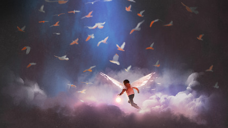 boy with angel wings holding a glowing ball running through group of birds, digital art style, illustration painting Archivio Fotografico - 105783875