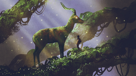 young hiker found giant deer statue covered with moss and lichen while traveling in the forest, digital art style, illustration painting Stok Fotoğraf